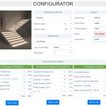 Configurator for the selection of a set of automatic lighting stairs