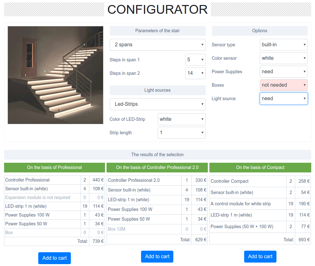 Automatic stair lighting set's configurator